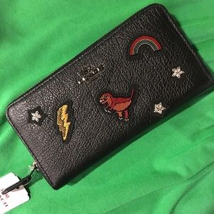 Coach Accordion Wallet w/ Souvenir Embroidery